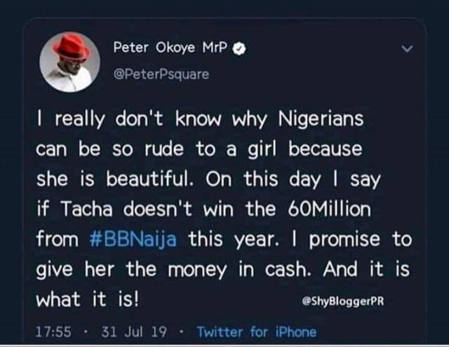 Peter Promises Tacha 60 Million